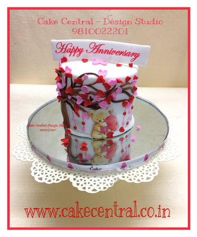 Heart with Teddy Romantic Anniversary Cakes Delhi Online   Cake for Marriage Anniversary Delhi NCR