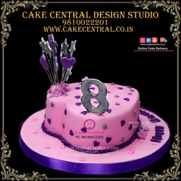 Pink Heart Shaped Cake in Delhi Online