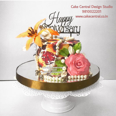 Floral Cake for Wedding Anniverary in Delhi Online