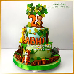 1st Birthday Jungle Cake in Delhi Online