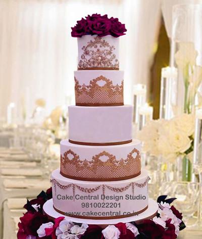 Pink & Gold Wedding Recepetion Cake in Delhi Online