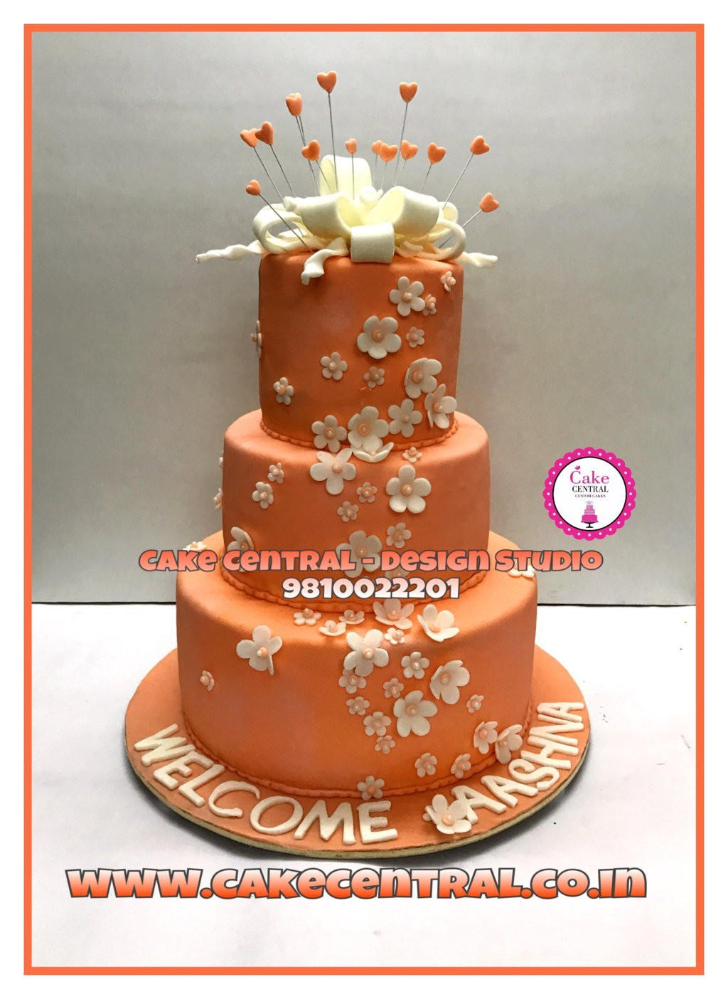 3 Tier White Peach Golden Birthday Cake Delhi