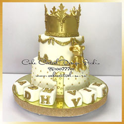 Golden Crown Cake  - Baby Lion Cake -First Birthday Cake Delhi Online