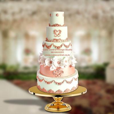 Christian Pink Wedding Cake Design in Delhi - White Wedding Cakes Delhi Online