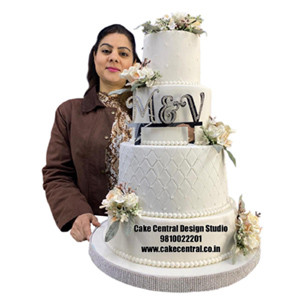 White Christian Wedding Cake Design in Delhi