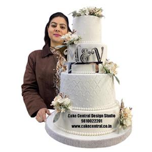 White Christian Wedding Cake Design in Delhi