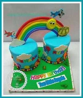 Rainbow Theme Birthday Cake for Twins in Delhi Online