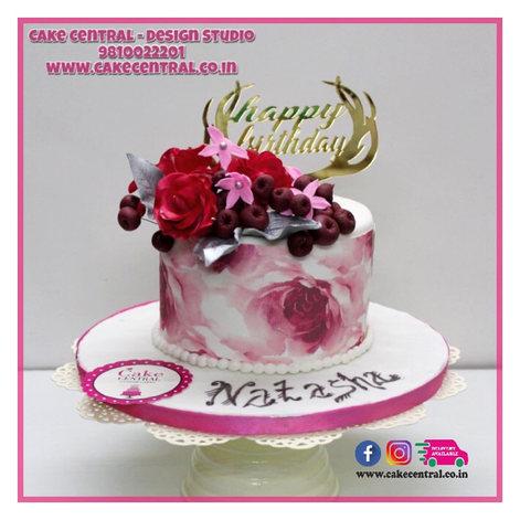 Pink Floral Design Elegant Cake Delhi
