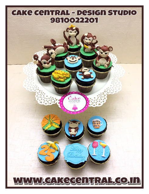 Monkey Animals Themed  Cupcakes Delhi | Customized Cupcakes with Delivery Delhi, Gurgaon , Noida .Cake Central - Premier Cake Design Studio , New Delhi , Delhi