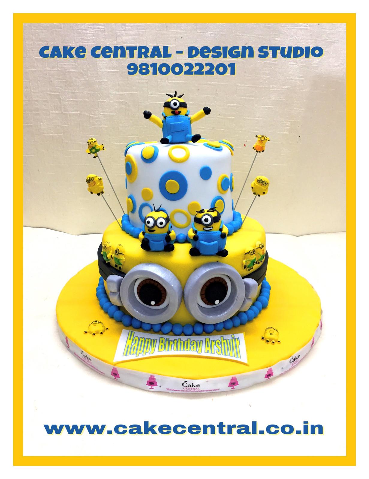 2 Tier Minion Cake With 3D Minions Topper Delhi Online