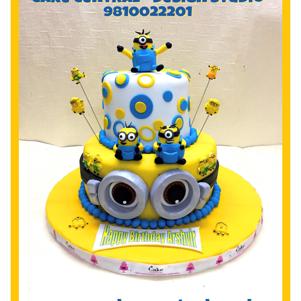 2 tier Minion Cake with 3D Minions Topper -Delhi-Online
