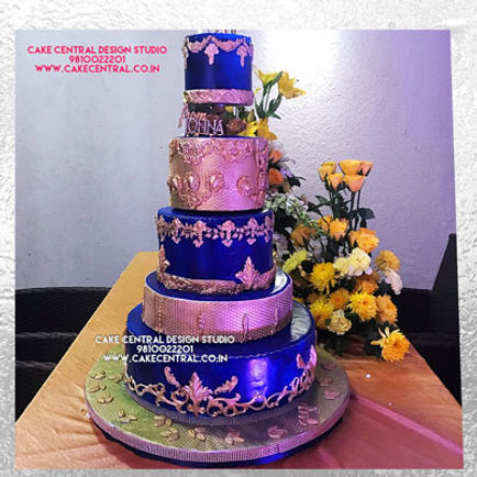 Blue & Golden 5 Floor 25 Annivesary Cake  in Delhi Online