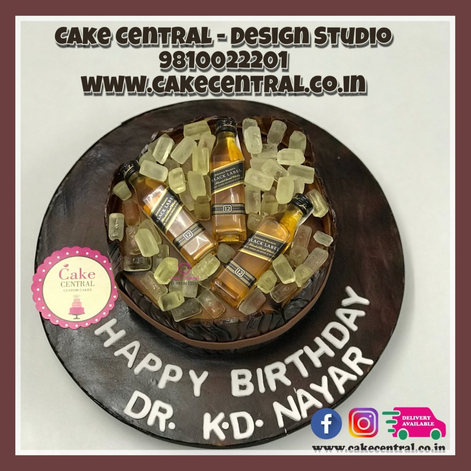 Whisky Scotch Bottle Cake in Delhi |  Online Cake Delivery