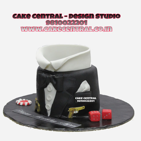 Black Suit Cake Delhi | Mens Suit & Tie Cake Delhi |Online Cake Delivery Delhi , Noida Gurgaon