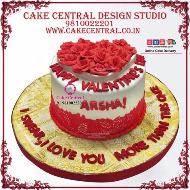Gold & Red flowers- Heart Shaped Designer Cake in Delhi Online with Delivery