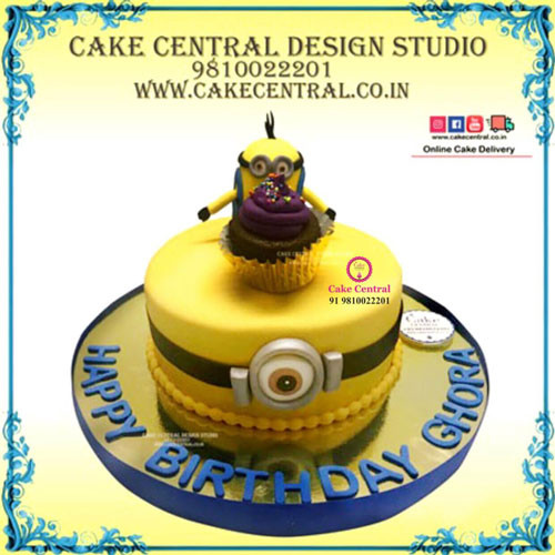 Minion Cake with Minion Cupcakes-Delhi-Online