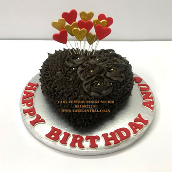 Chocolate Heart Cakes Delhi Online