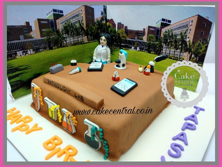 Cake for a Doctor working at PATHOLOGY LAB at AIIMS Hospital .