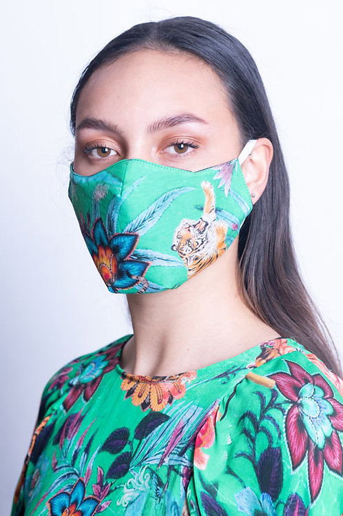 Green Floral Mask