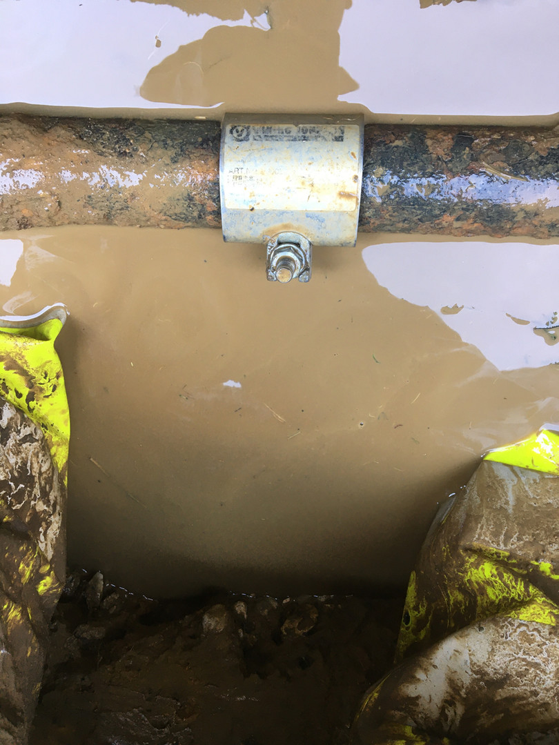 Pipe leak clamped