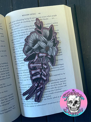 Skeleton Hand Flower Bouquet - Double Sided Bookmark