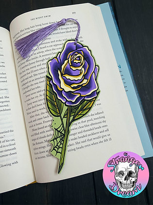 Purple Rose - Double Sided Bookmark with Tassel