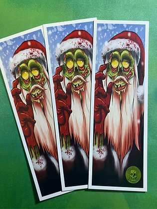 SECONDS! Zombie Santa - Double Sided Bookmark