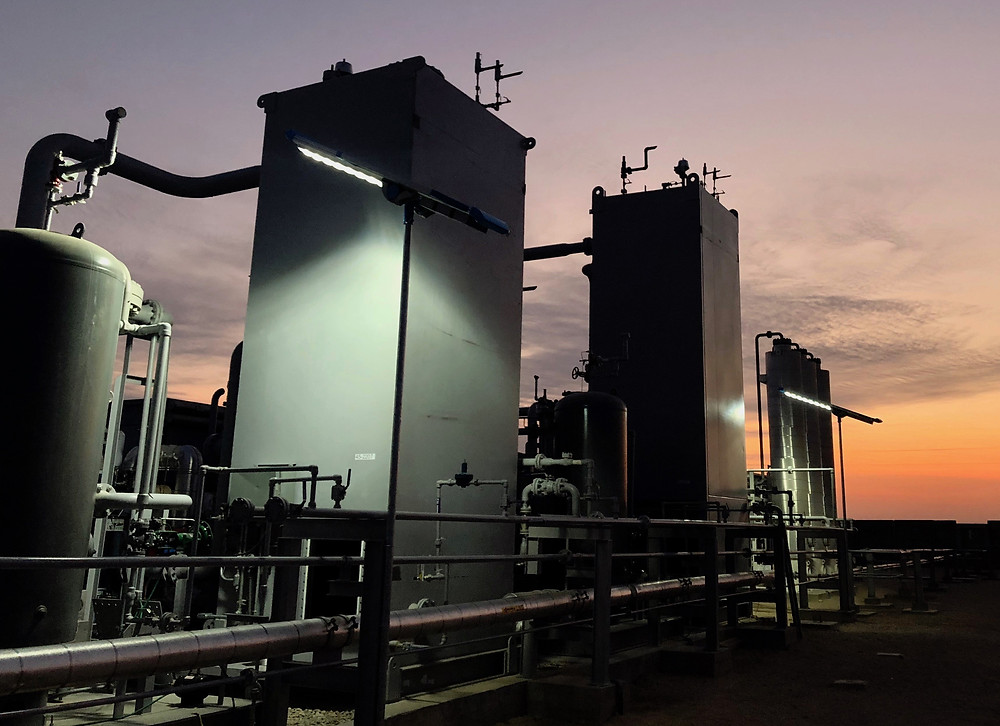 Our liquefaction plant at night, under solar-powered lights