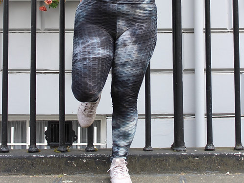Dark grey textured tie dye high waist gym leggings