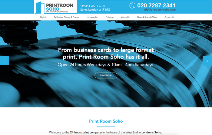 Printroom Soho new website design