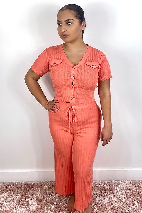 Coral short sleeve knitted lounge wear