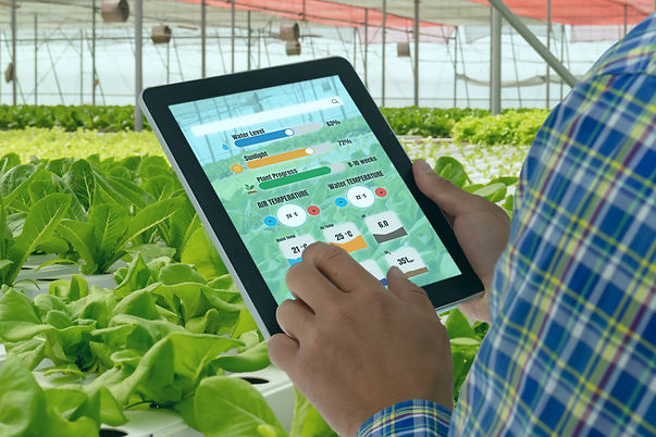 iot smart industry robot 4.0 agriculture concept,industrial agronomist,farmer using tablet