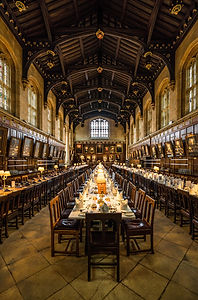 Dining hall at Oxford, UK college. Imaging in England 2018