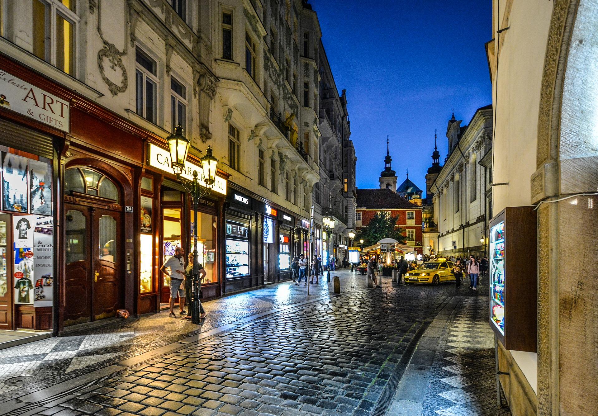 Prague Street scene night