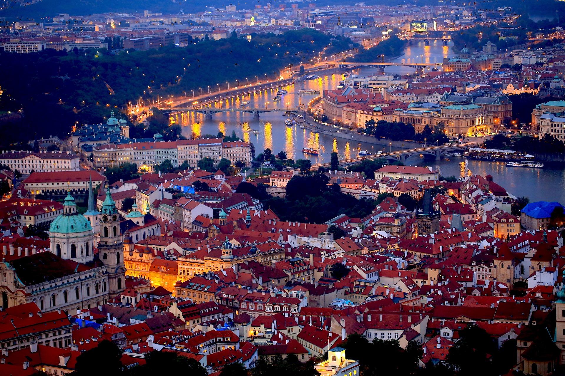 Prague Arial View at night