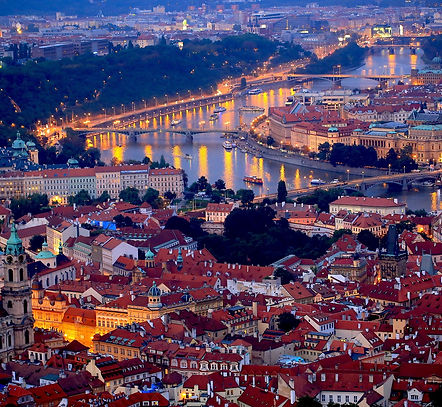 Prague- Arial view at night