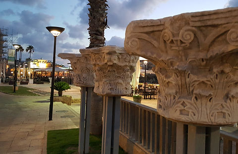 Ancient Roman Capitals at Caesarea - Photo by Kevin Rice