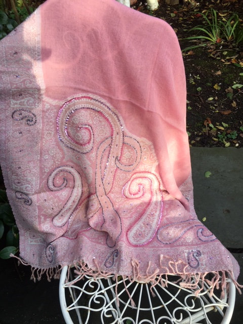 Cutwork wool stole with sequins