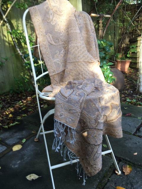 cutwork wool stole