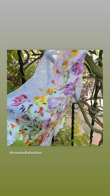 Wild flower print chiffon scarf