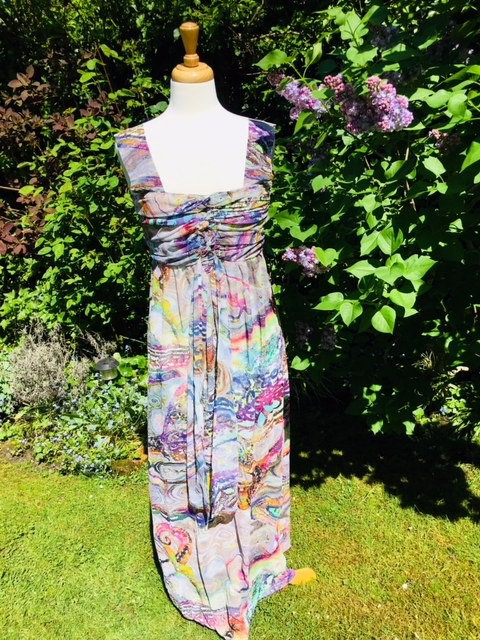 Rouched bodice,  full length sun dress