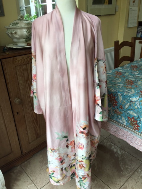 Full length satin dressing gown