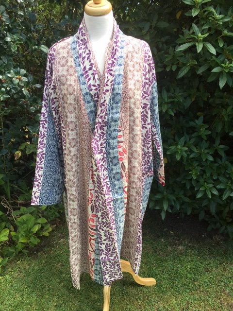 Dressing gown with shawl collar