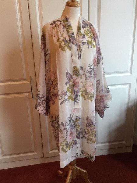 Kimono style long dressing gown