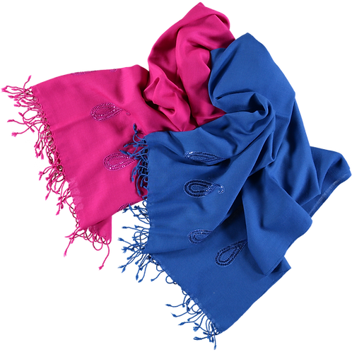 Wool Stoles with Paisley Sequin Border