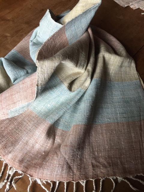 Hand woven natural Eri silk, scarf.