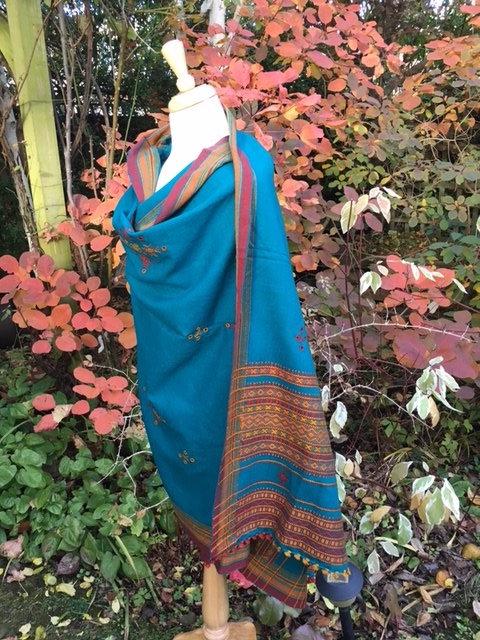 Gujarat blanket shawl with tassled fringe