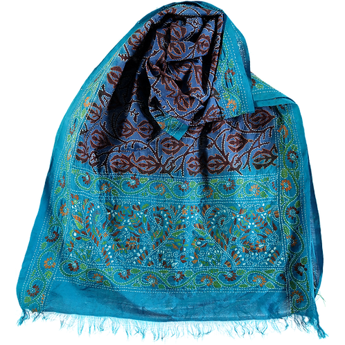 Silk Scarf with Kantha Embroidery