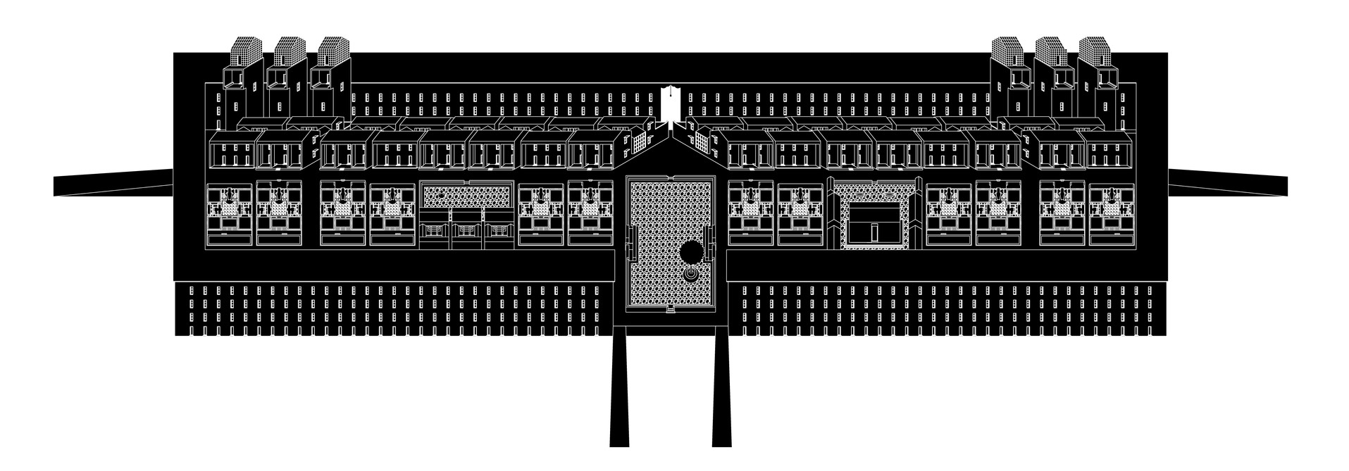 18-02 CHINESE VILLAGE Black on White Dimetric