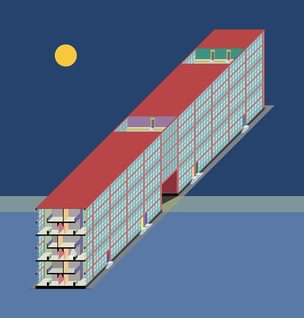 16-01 REFUGEE CAMP diametric view of building unit